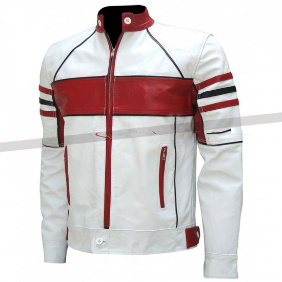 Red and White Men's Biker Leather Jacket