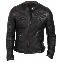Men Slim Fit Vintage Cafe Racer Quilted Black Biker Leather Jacket