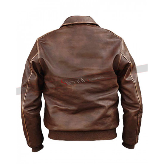A2 Aviator Air Force Pilot Men Vintage Distressed Brown Leather Bomber