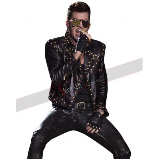 Adam Lambert Concert 2018 Studded Black Leather Jacket