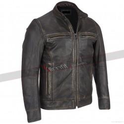 Arrow Black Rivet Faded Leather Jacket