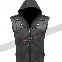 Black DX Logo Leather Zipper Hoodie Vest