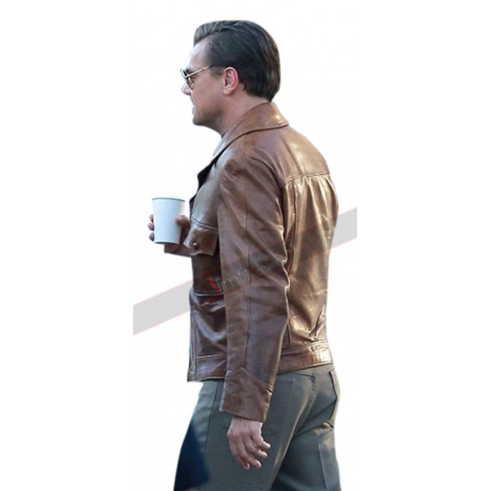 Once Upon a Time in Hollywood Leonardo DiCaprio (Rick Dalton) Brown Leather Jacket