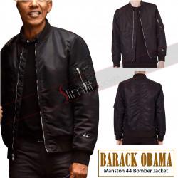 Barack Obama Manston 44 Black Bomber Jacket