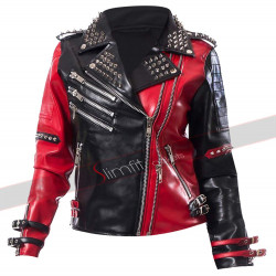Harley Quinn Psychotic Red and Black Studded Leather Jacket