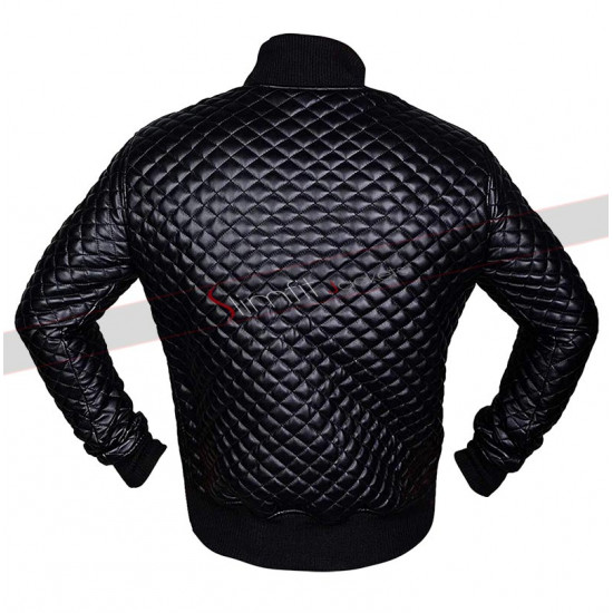 Men's Black Motorcycle Leather Quilted Jacket