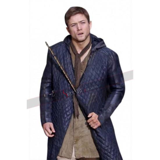Robin Hood (Taron Egerton) Quilted Black Leather Long Coat