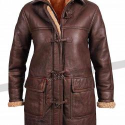 B3 Womens Fur Sheepskin Hoodie Leather Coat