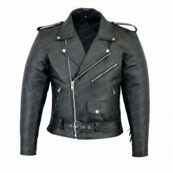 Men's Black Biker Fringe Leather Jacket