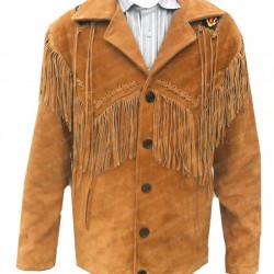 Men's Brown Fringe Cowboy Style Suede Leather Jacket