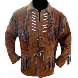 Men's Bead Brown Fringe Suede Leather Jacket