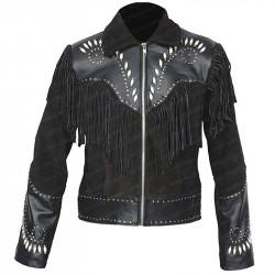 Men's Fringe Black Biker Bone Beads Suede Leather Jacket