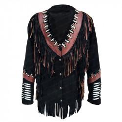 Men's White Bead Fringe Western Black Suede Leather Jacket