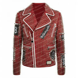 Men's Phillip Plein Studded Red Biker Leather Jacket