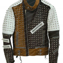 Men's Biker Studded Black and White Leather Jacket