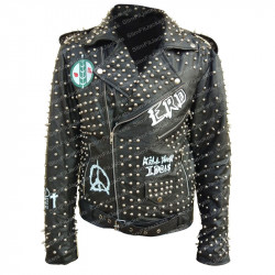 Men's ERD Rock Pop Punk Studded Leather Jacket