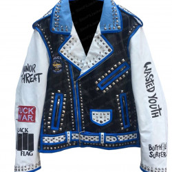 Men's Wasted Youth Biker Studded Leather Jacket