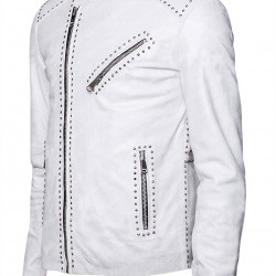 Men's Biker Studded White Street Style Leather Jacket