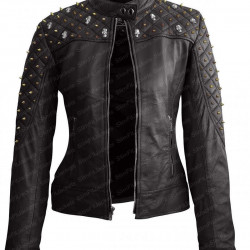Womens Black Studded Biker Skull Quilted Leather Jacket