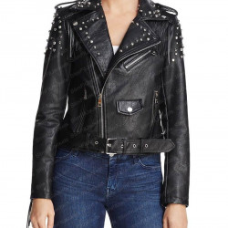Women's Studded And Fringe Motorcycle Black Leather Jacket
