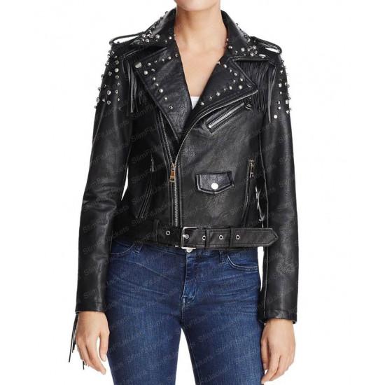 Women's Studded And Fringe Motorcycle Black Leather Jacket