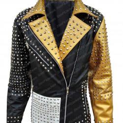 Womens Studded Golden Black Skull Biker Leather Jacket