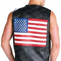 US 202 American Flag Leather Vest