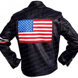 US American Flag Peter Fonda Biker Black Leather Jacket