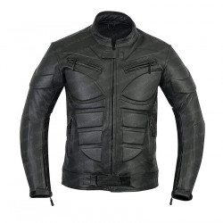 Black Armor Biker Leather Jacket