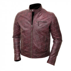 Cafe Racer Distressed Maroon Red Leather Jacket