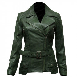 Womens Green Classic Biker Style Leather Jacket