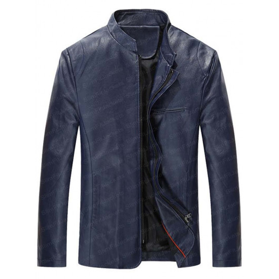 Men's Mandarin Collar Simple Biker Leather Jacket