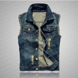 Men's Blue Motorcycle Denim Vest