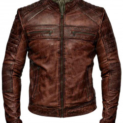Mens Biker Vintage Brown Bomber Leather Jacket