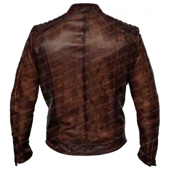 Mens Biker Vintage Brown Bomber Leather Jacket