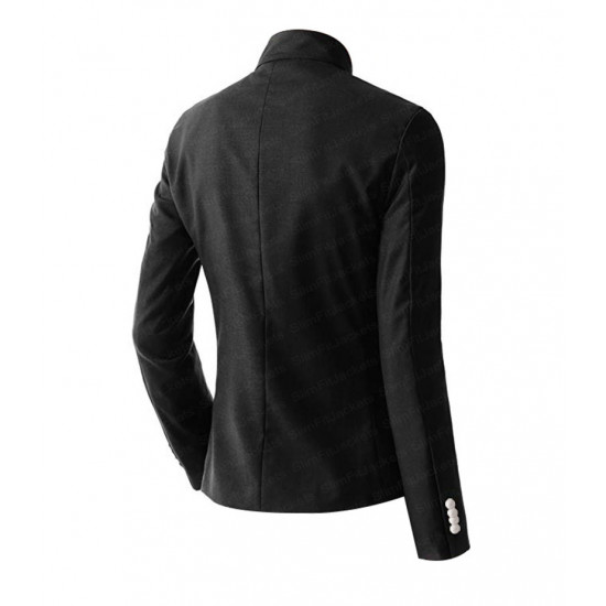 Men's Casual Double Breasted High Neck Cotton Jacket