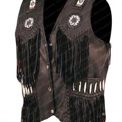 Men's Western Cowhide Fringe Bones Beads Leather Vest