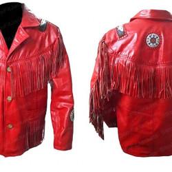 Men Western Cowboy Fringe Red Leather Jacket