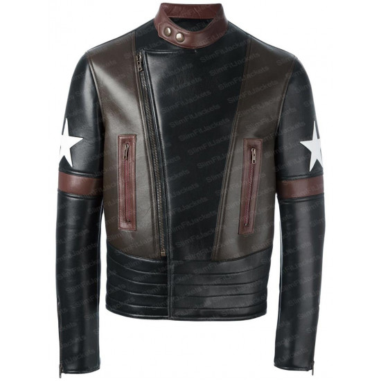 Black Star Patch Biker Leather jacket