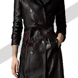 Women Black Long Lambskin Leather Pea Coat