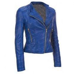 Women's Blue Biker Leather Jacket