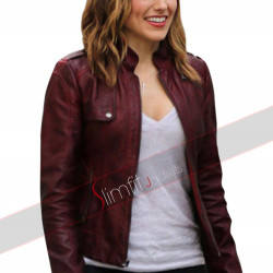 Chicago PD Sophia Bush Erin Lindsay Maroon Leather Jacket