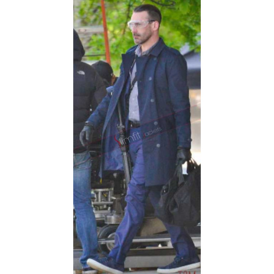 Jon Hamm Baby Driver Blue Trench Coat