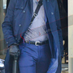 Jon Hamm Baby Driver Blue Trench Coat