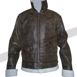 Distressed Green Shearling Fur Winter Flying Jacket