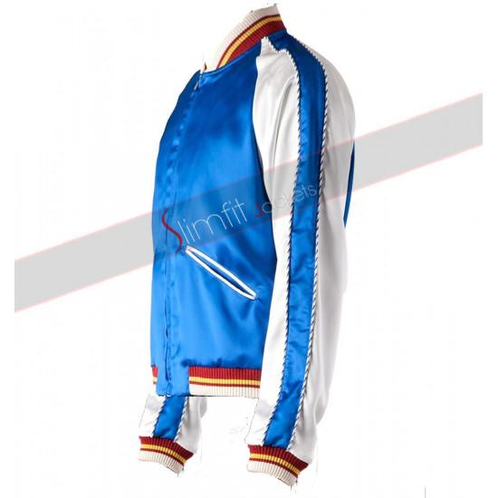 Saint Laurent Blue Satin Bomber Jacket