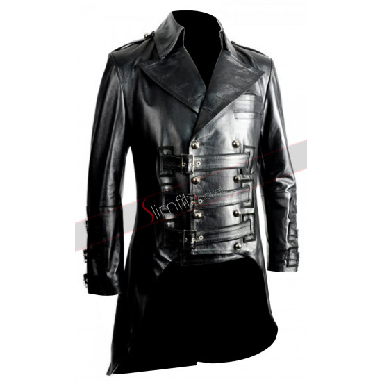 Impero London Mens Luxury Leather Military Tail Coat