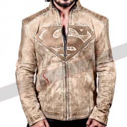 Brown Superman Distressed Denim Style Leather Jacket