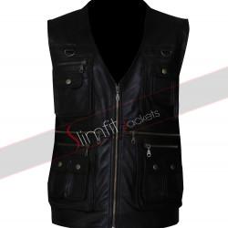 Celebrity Italy Men's Front Pocket Leather Vest