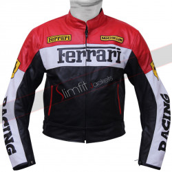 Ferrari Red and Black Biker Motorcycle Leather Jacket